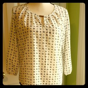 Black And White Silk Long Sleeve Blouse